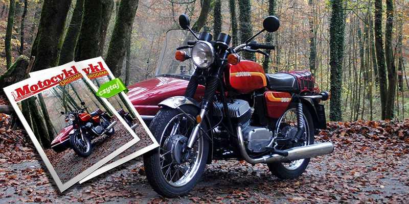 iMotocykl nr 14 (rok 2021) na zdjęciu. Jawa 350 z koszem. Fot. Hubert Pawłowski